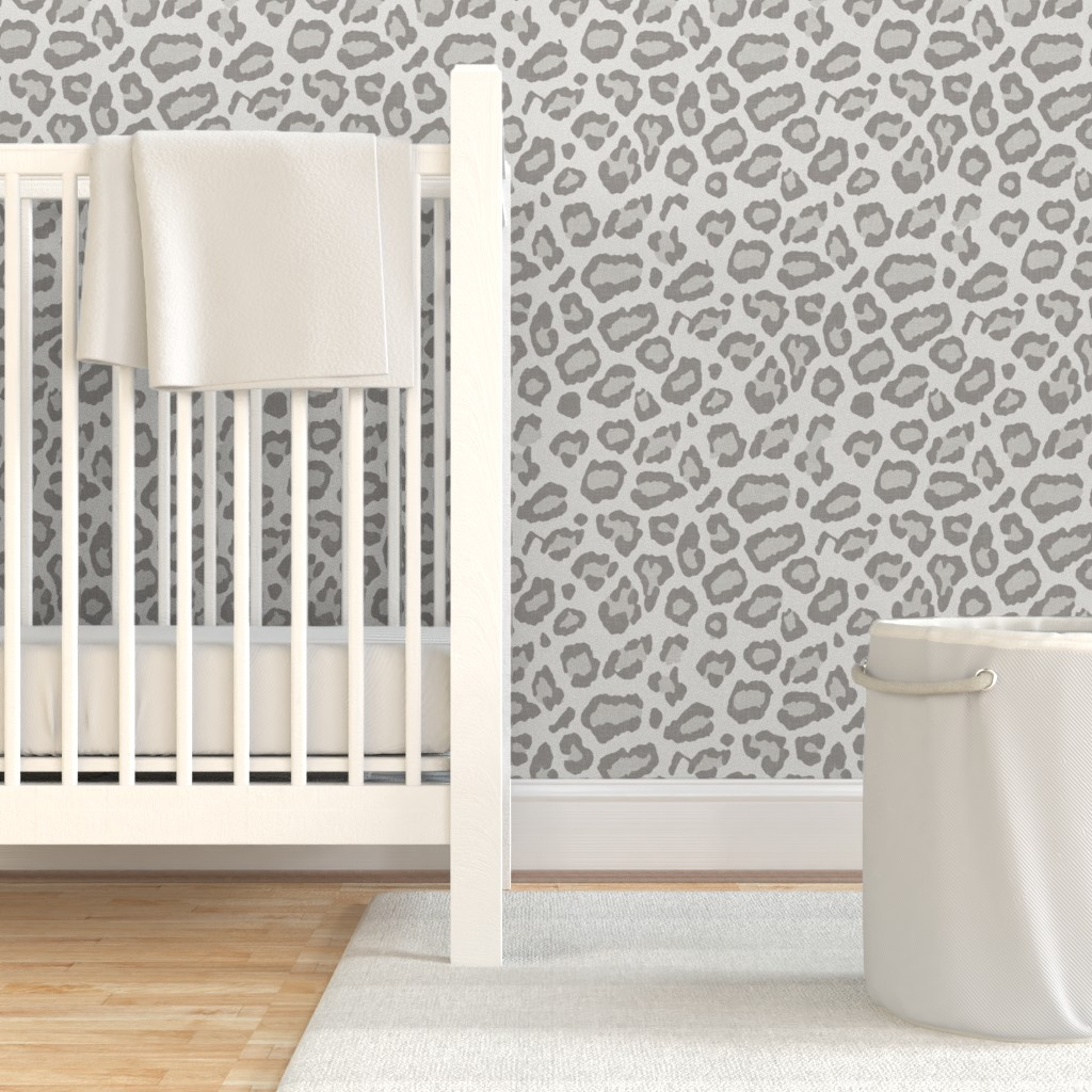 Removable Water-Activated Wallpaper Etosha Leopard Gray Beige