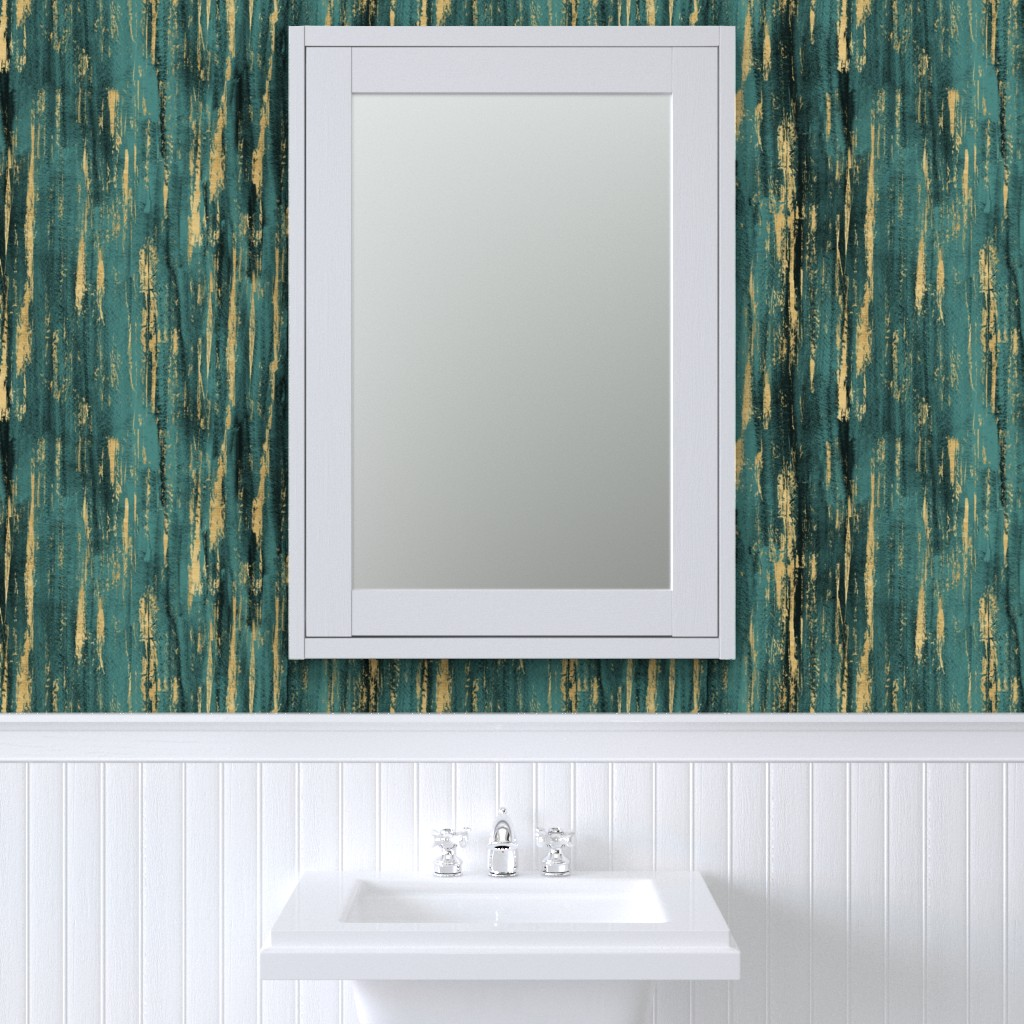 Removable Water-Activated Wallpaper Painted Texture Teal and Gold Modern