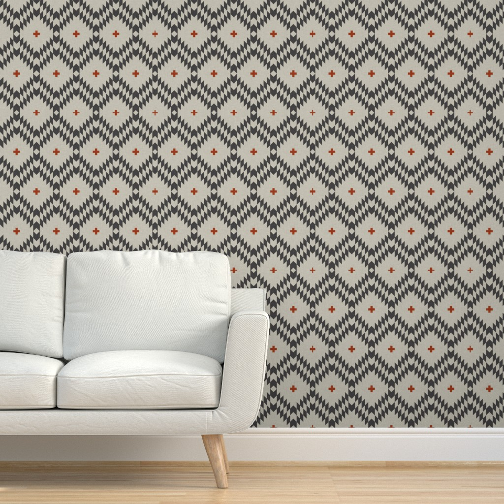 Peel-and-Stick Removable Wallpaper Geo Geometric Tribal Plus Black Grey