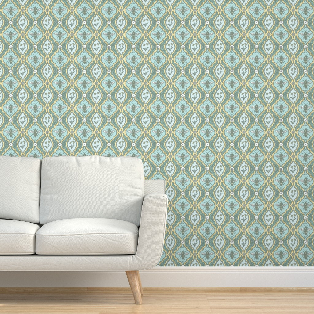 Removable Water-Activated Wallpaper Bee Mint Honeybee Nature Yellow Green