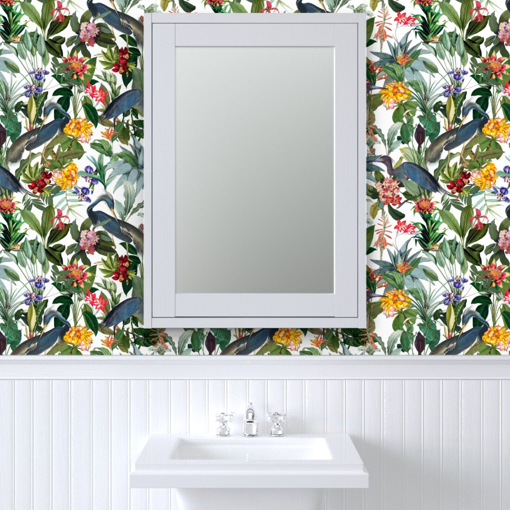 Peel-and-Stick Removable Wallpaper Tropical Birds Flower Jungle Blue Heron