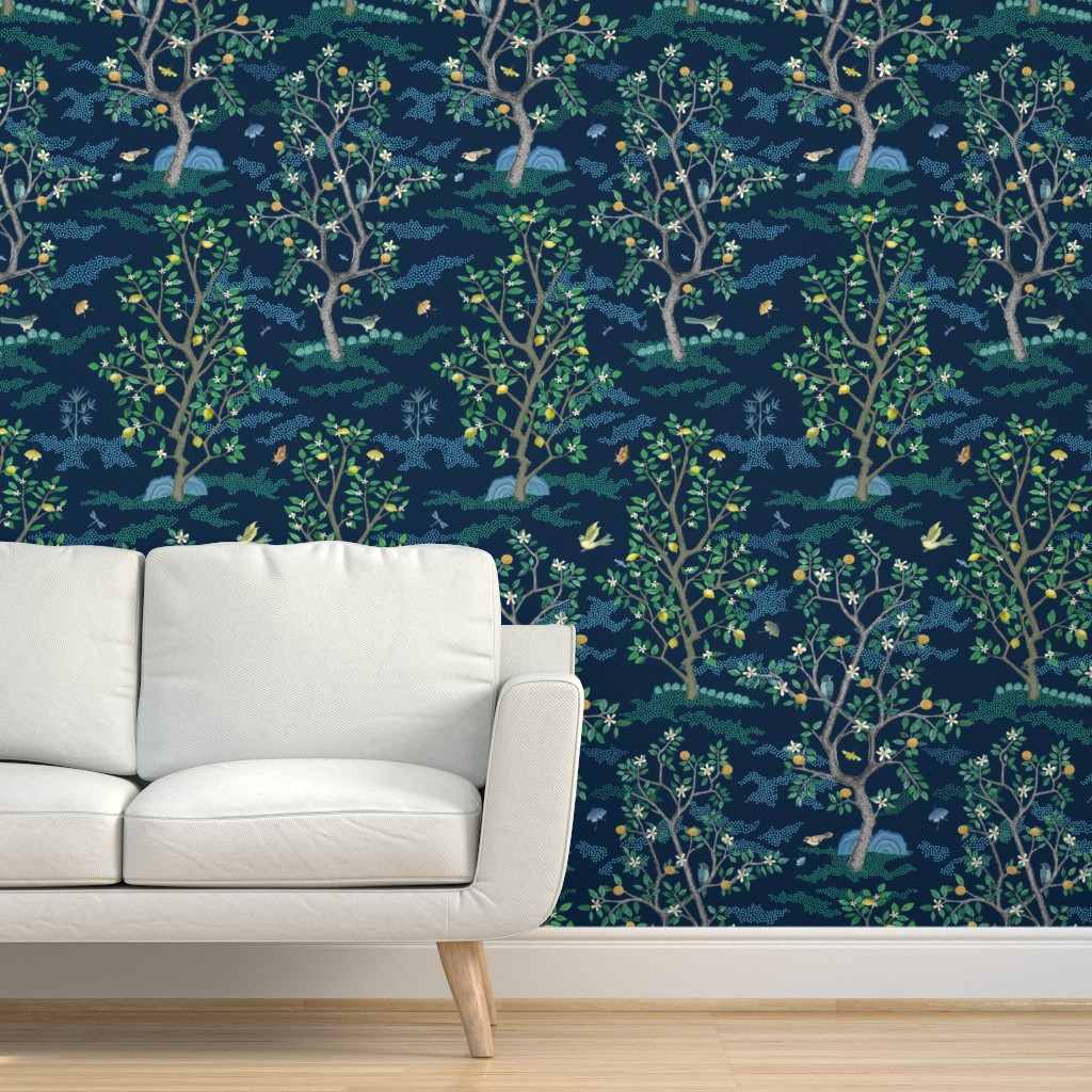 Removable Water-Activated Wallpaper Citrus Grove Toile Chinoiserie Birds Oranges