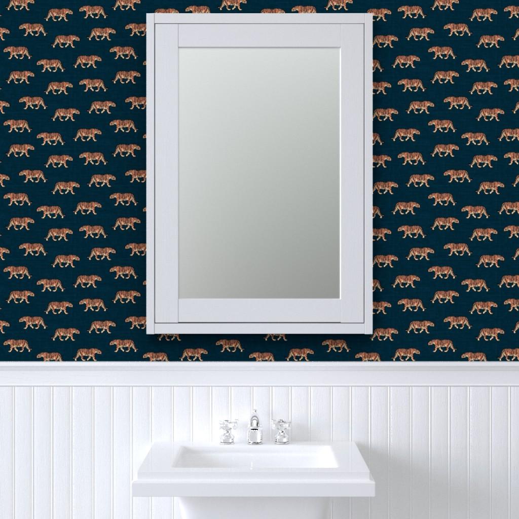 Peel-and-Stick Removable Wallpaper Tiger Animal Safari Blue Indigo Texture Fauna