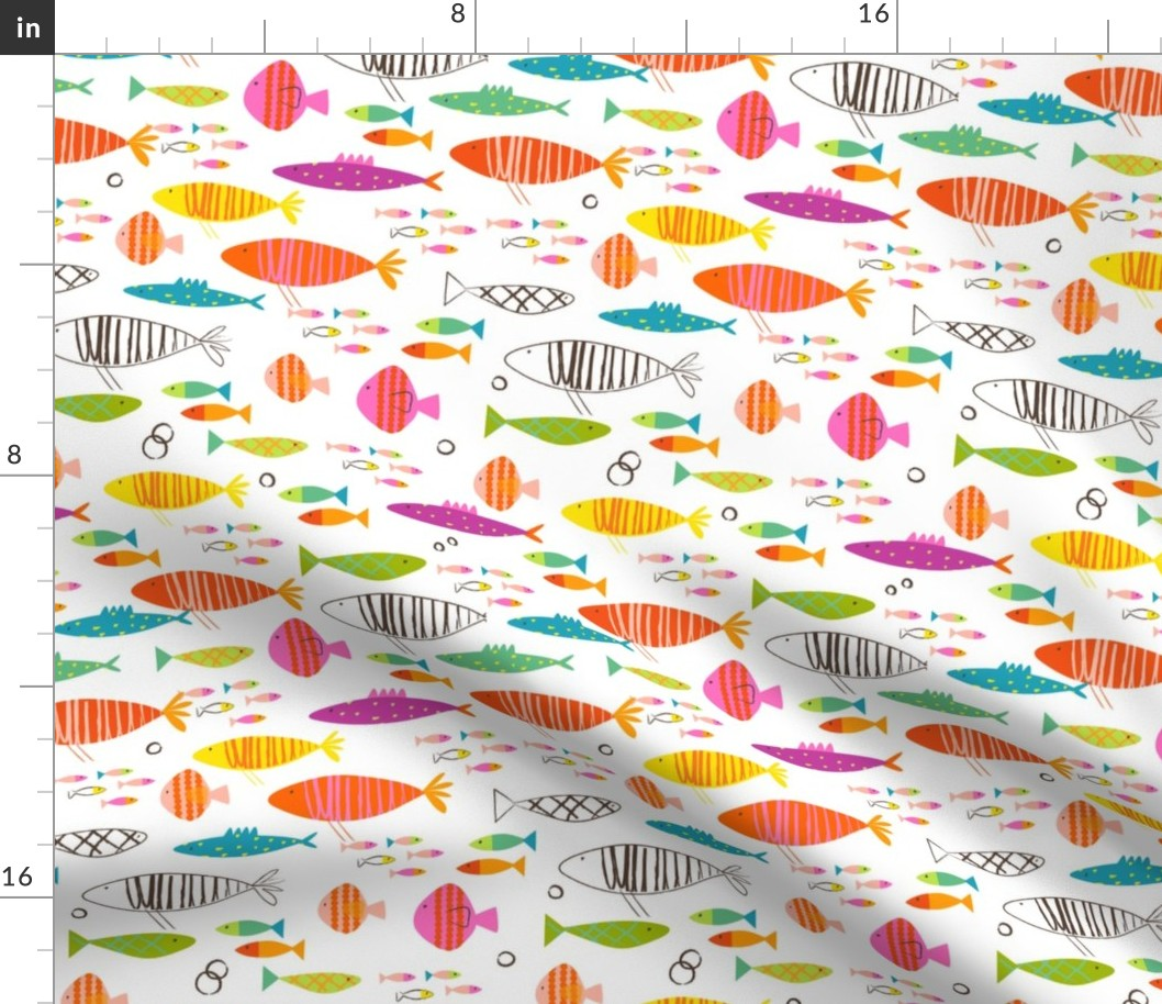 Details About Rainbow Fish Summer Nursery Decor Ocean Fabric Printed By Spoonflower Bty