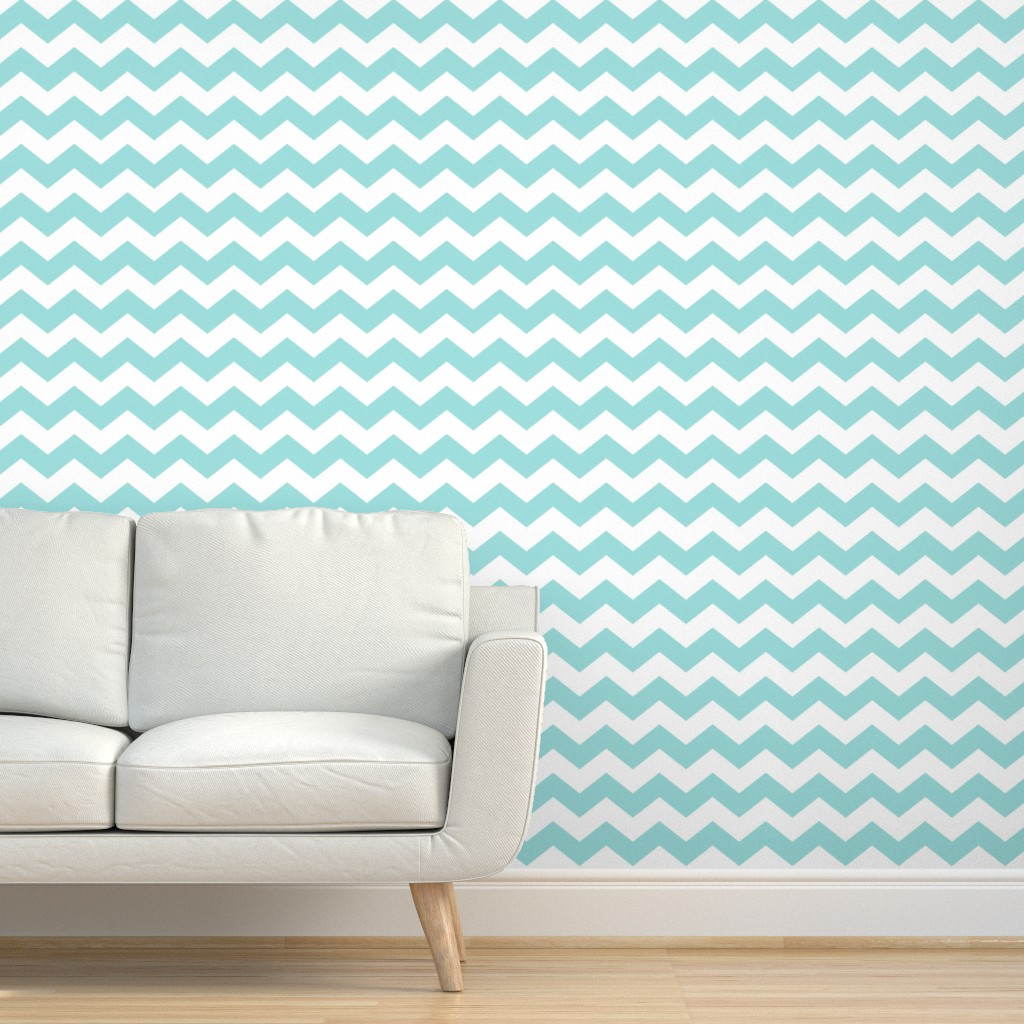 Peel And Stick Removable Wallpaper Chevron Zigzags Aqua Turquoise Teal Light Ebay
