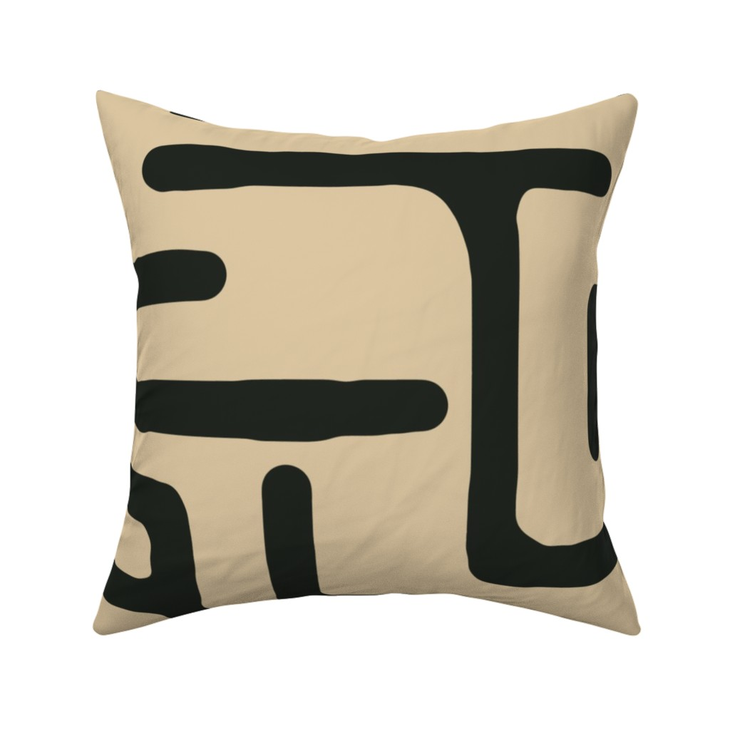 Details about Kuba Black Beige Tribal Modern Throw Pillow Cover w Optional  Insert by Roostery