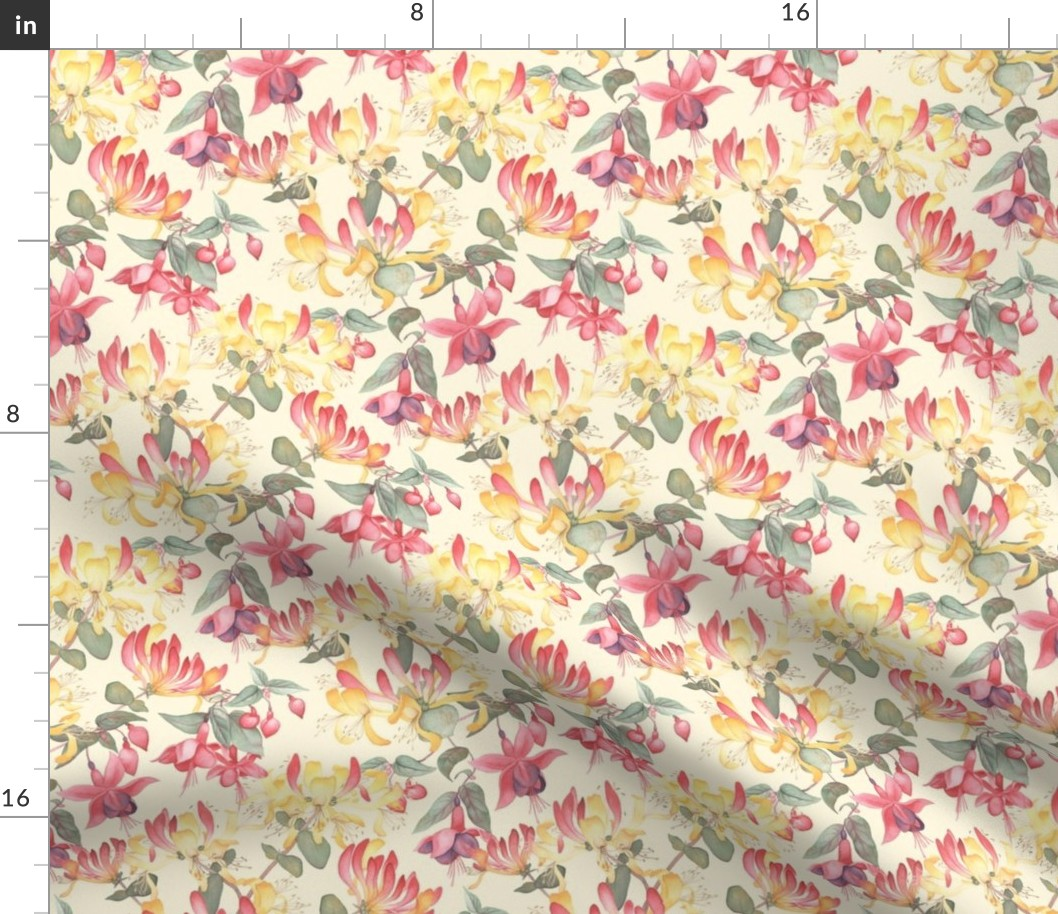 By The Yard Flower Design On Fuchsia Background 100/% Cotton Fabric