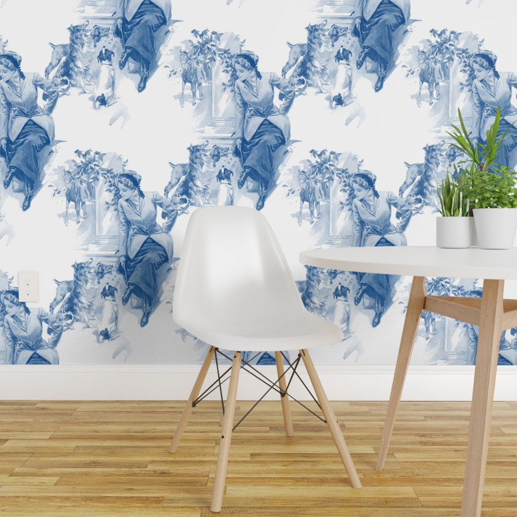 Astonishing Details About Wallpaper Roll Horse Blue And White Toile Dog Doges Horses Equine 24In X 27Ft Machost Co Dining Chair Design Ideas Machostcouk