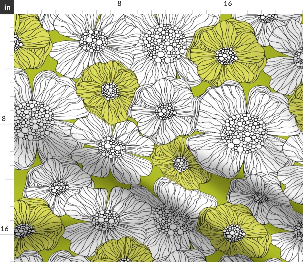Flowers Black And White Modern Floral Fabric Printed by Spoonflower BTY