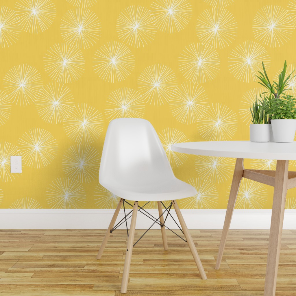Wallpaper Roll Mod Yellow And White Floral Modern Dandelion Retro