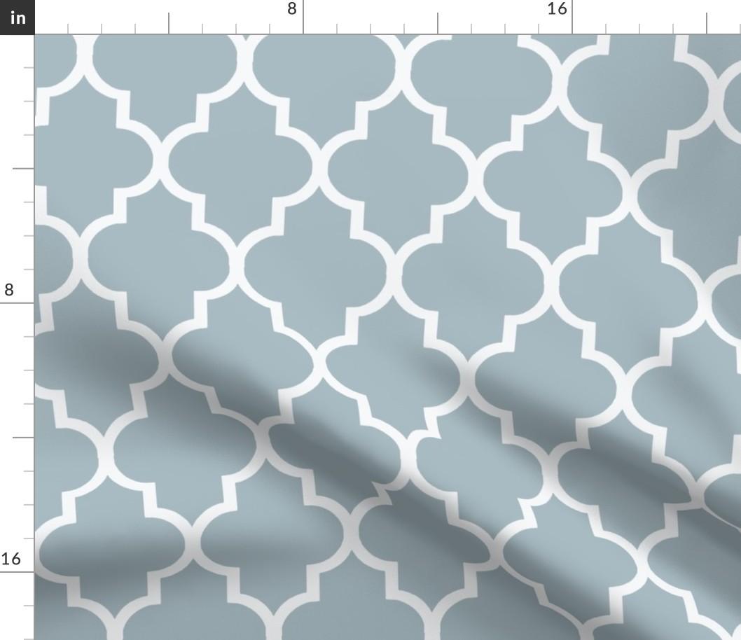 Navy Lattice Design Printed on Linen Cotton Canvas Fabric