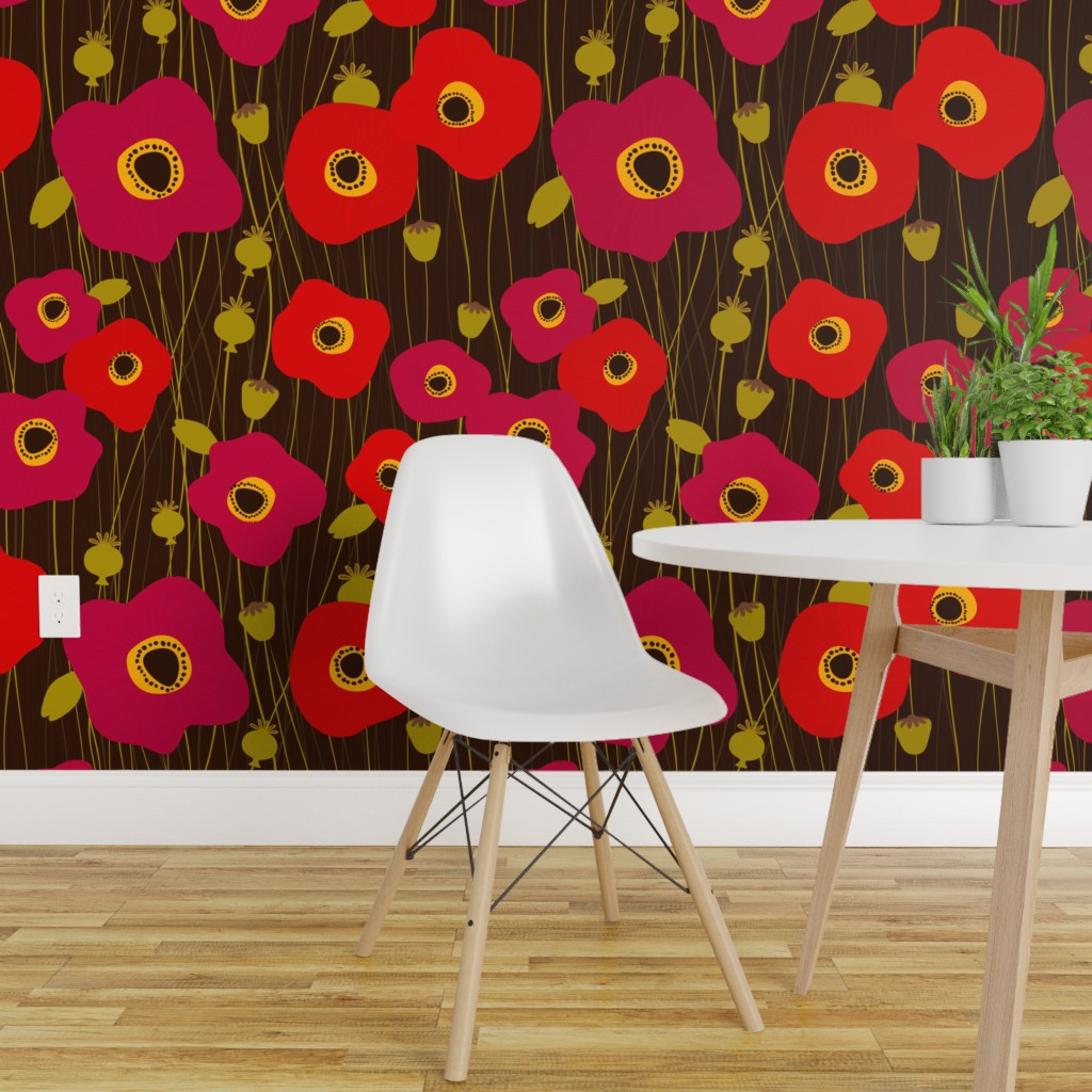 Wallpaper Roll Poppies Floral Modern Black Red Brown Yellow Nature