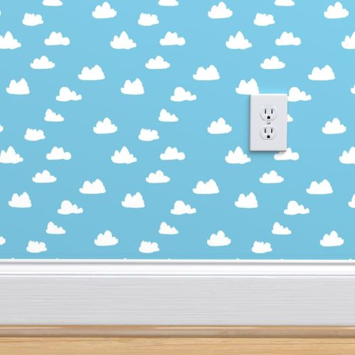 Wallpaper Clouds Soft Pastel Baby Blue Clouds Illustration Pattern For Baby Nursery