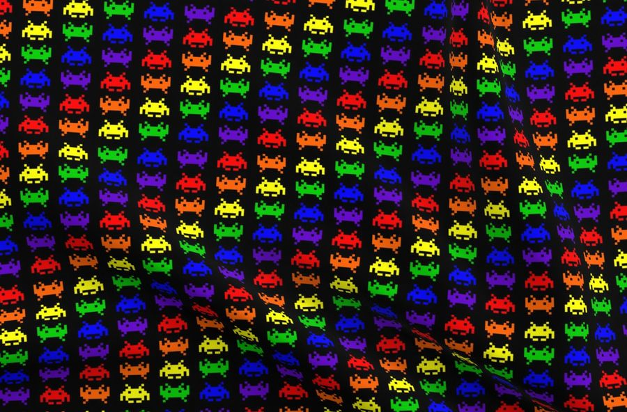 Colorful Fabrics Digitally Printed By Spoonflower Retro Space Invaders 1