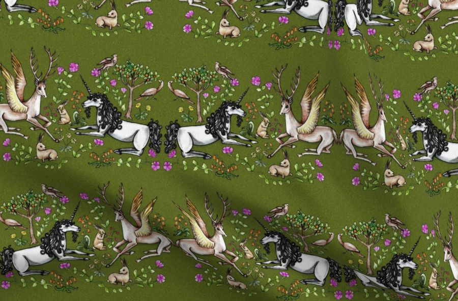 Colorful fabrics digitally printed by Spoonflower - medieval unicorn garden