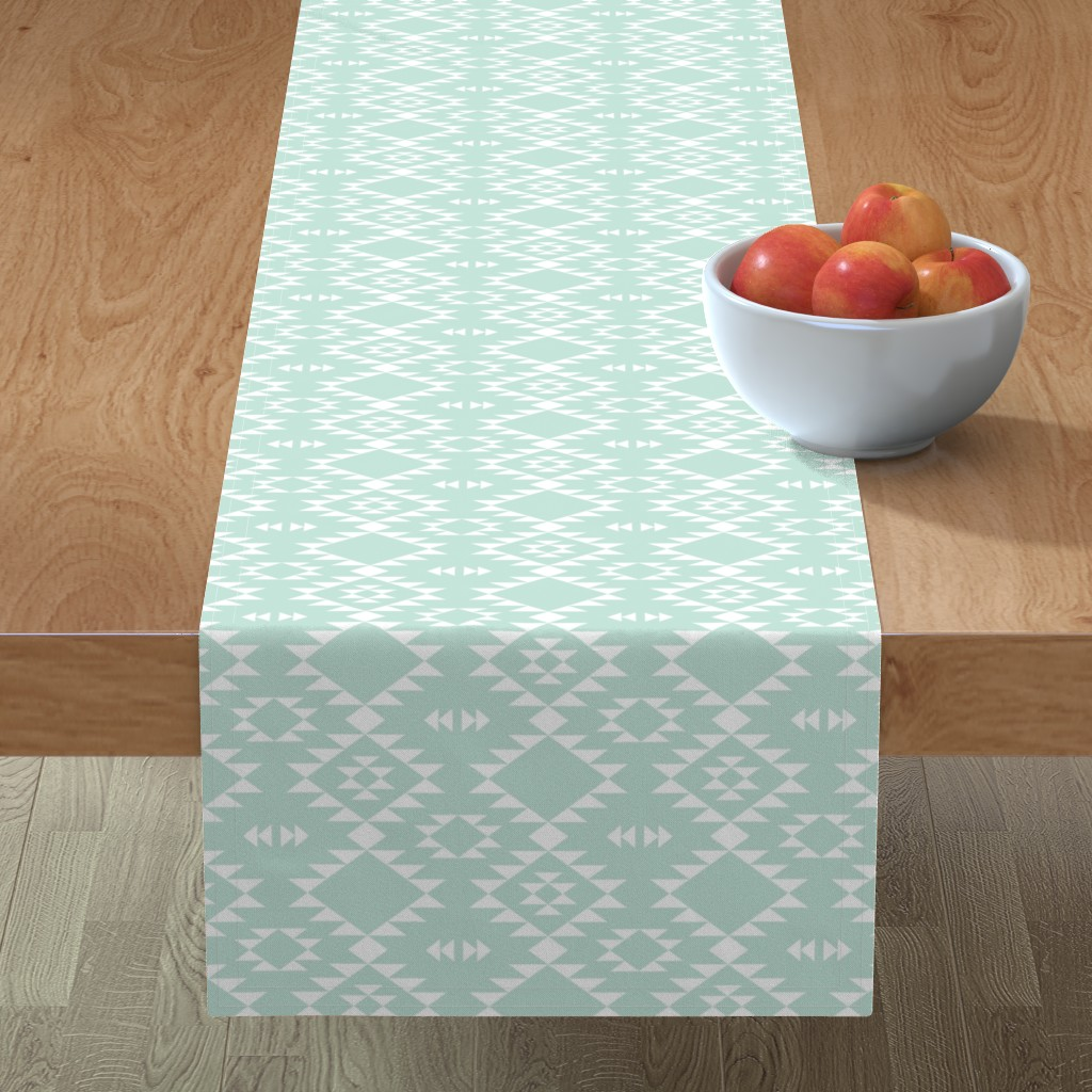 Details About Table Runner Southwest Tribal Mint And White Southwestern Boho Cotton Sateen