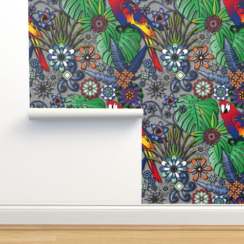 Wallpaper Jungle Flowers Bright Colors