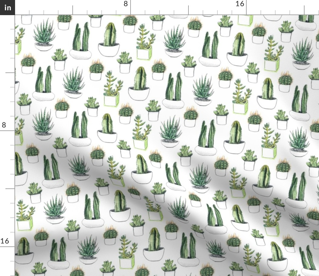 Watercolor Green Cactus Green Cacti Floral Fabric Printed by Spoonflower BTY