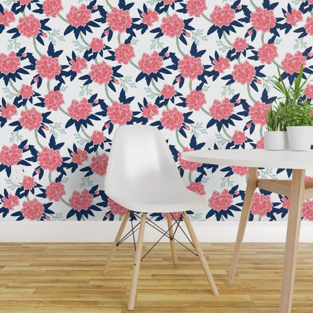 Wallpaper Roll Vintage Peonies Retro Floral Paeonia Navy Pink