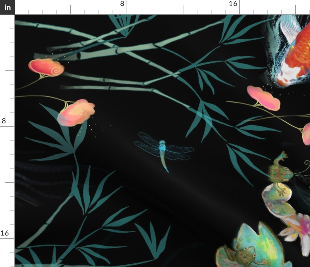 details about koi fish japanese oriental exotic chinoiserie fabric printed  by spoonflower bty