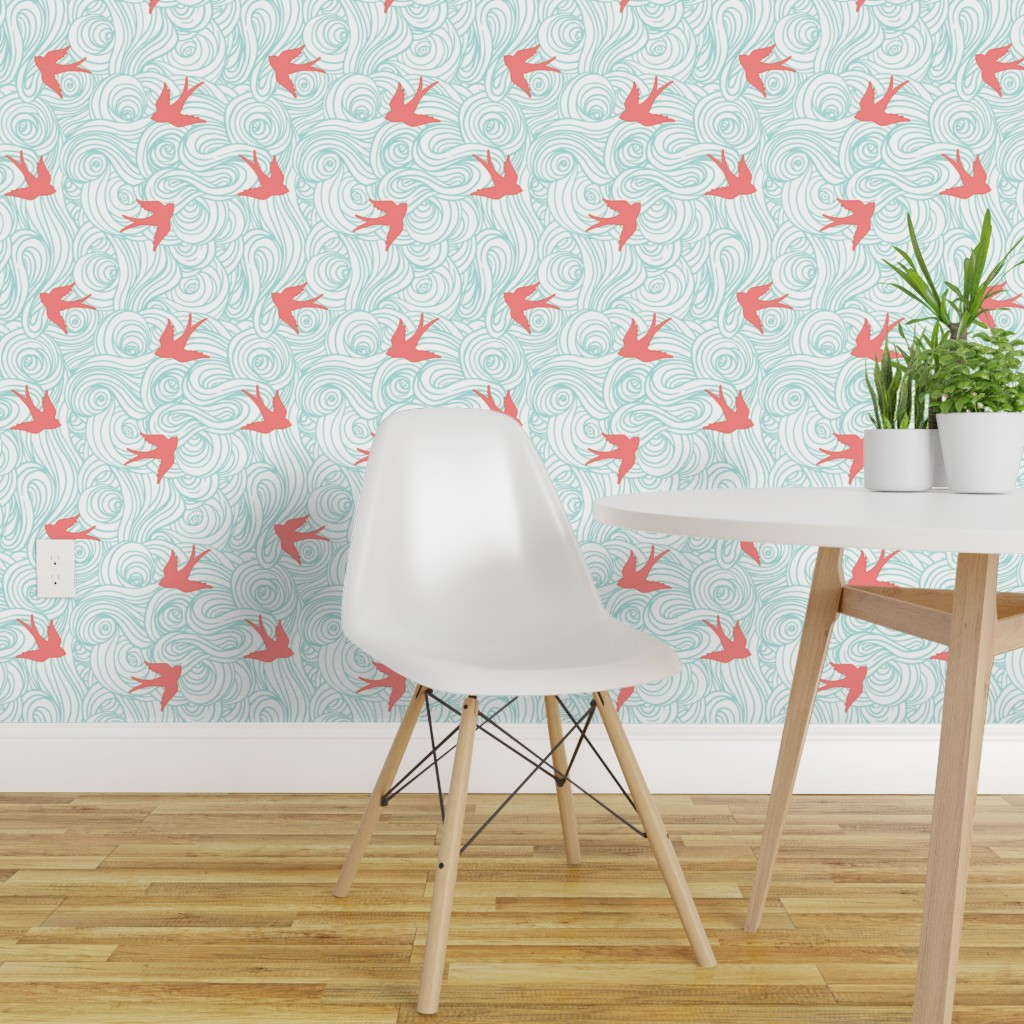 Details About Peel And Stick Removable Wallpaper Baby Birds Pink And Blue Nursery Clouds Ocean