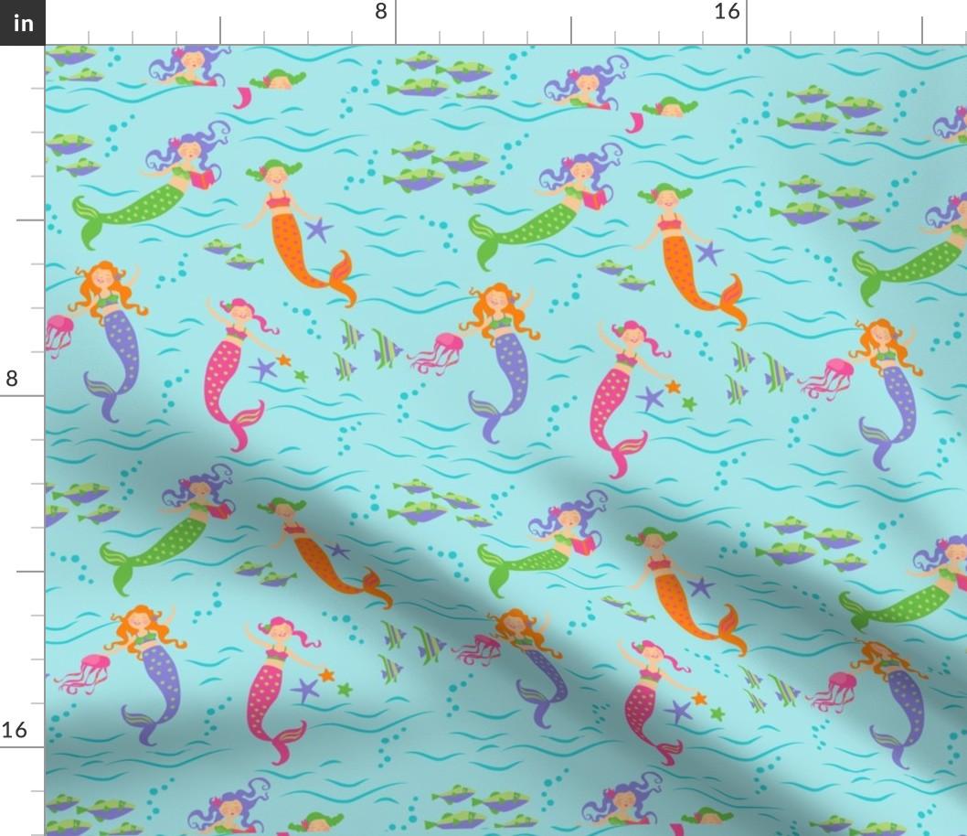 Mermaid Watercolor Mermaid Ocean Flowers Fabric Printed by Spoonflower BTY