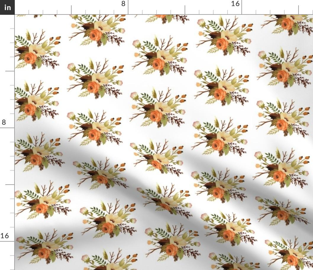 Autumn Boho Floral Bohemian Fall Botanical Fabric Printed By