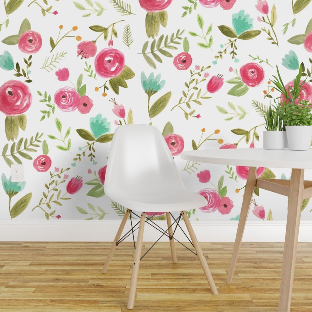 Wallpaper Roll Watercolor Floral Bohemian Nursery Rose Flower 24in