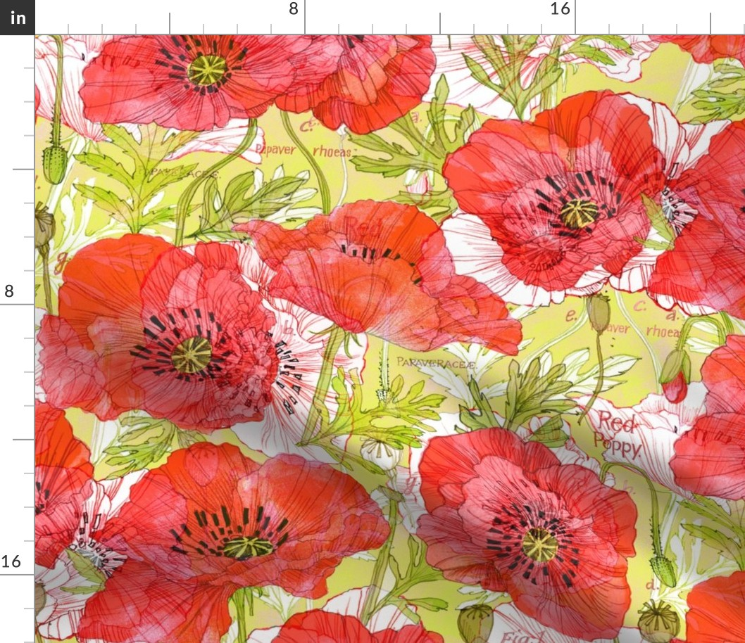 Watercolor Botanical Floral Sketchbook Plants Fabric Printed by Spoonflower BTY