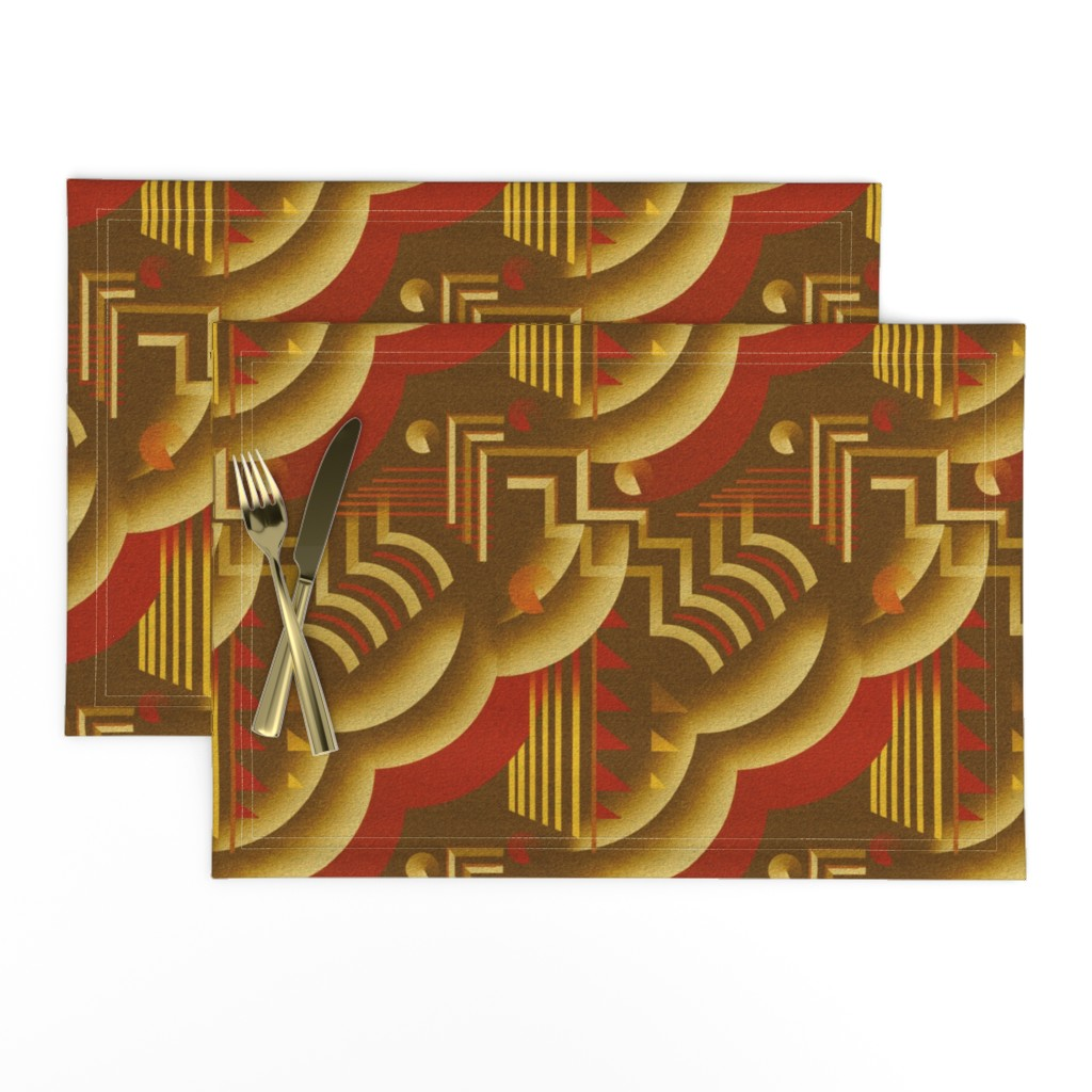 Cloth Placemats Art Deco Retro Style Red Gold 1920s Vintage Abstract Set Of 2 Ebay