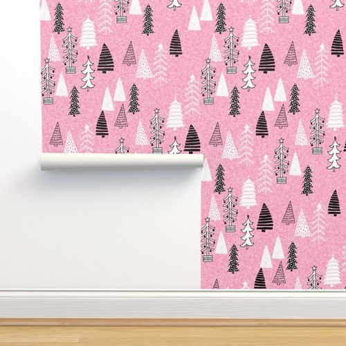 Pink Christmas Trees.Wallpaper Christmas Tree Forest Pink Christmas Trees Holiday Xmas Tree Design Xmas Fabric Cute Holiday Trees Andrea Lauren Fabric