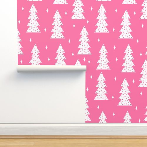 Pink Christmas Trees.Wallpaper Christmas Tree Christmas Trees Pink Christmas Girls Sweet Holiday Fabric Christmas Fabric Baby