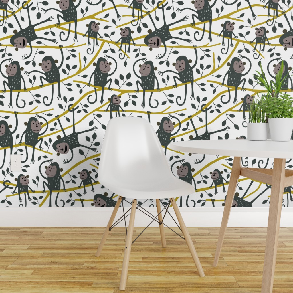 Details About Peel And Stick Removable Wallpaper Monkey Nursery Decor Kids Room Animals Trees