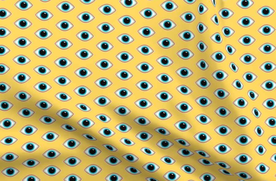 Colorful fabrics digitally printed by Spoonflower - Evil Eye Mustard Color