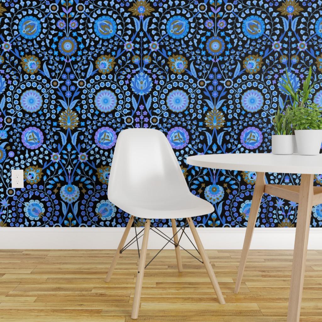 Details About Peel And Stick Removable Wallpaper Blue Floral Damask Renaissance Turkish