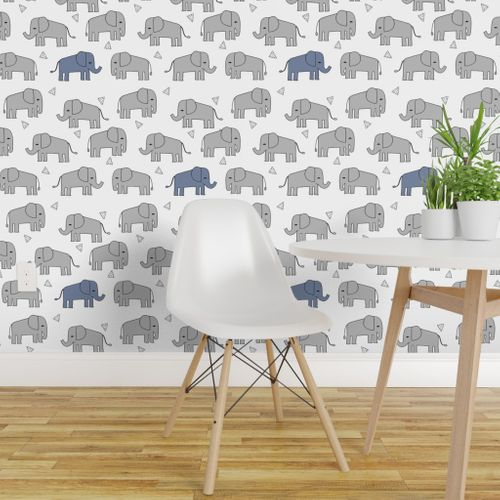Wallpaper Elephant Grey And Blue Elephants Little Boy Baby Nursery Sweet