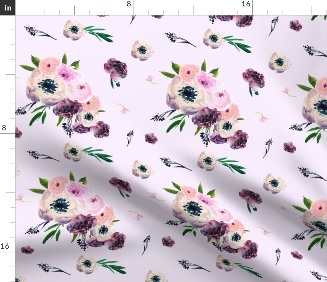 Pink Boho Floral Violet Flowers Roses Fabric Printed By