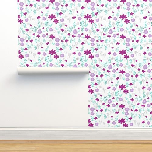 Wallpaper Flowers Spring Florals Purple Pastel Lilac Lavender Mint Cute Girly Easter Print