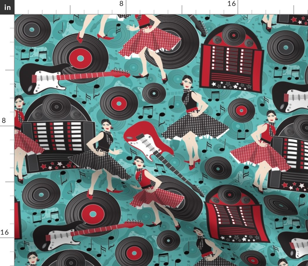 Retro Rock And Roll Jukebox Vinyl Records Fabric Printed by