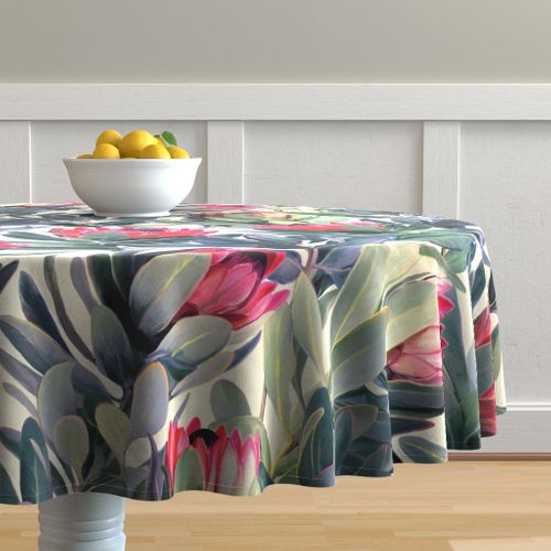 Extra Large Round Table Cloth.Colorful Fabrics Digitally Printed By Spoonflower Painted Protea Floral Extra Large Version