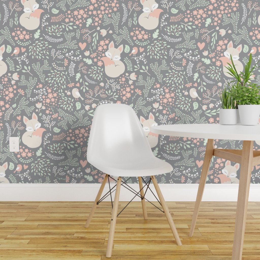 Details About Peel And Stick Removable Wallpaper Modern Nursery Fox Woodland On Grey Sleeping