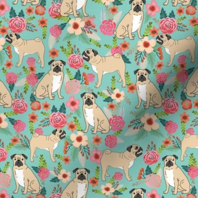Fabric by the Yard pug pet dog pugs flowers fabric florals cute mint pug  flowers
