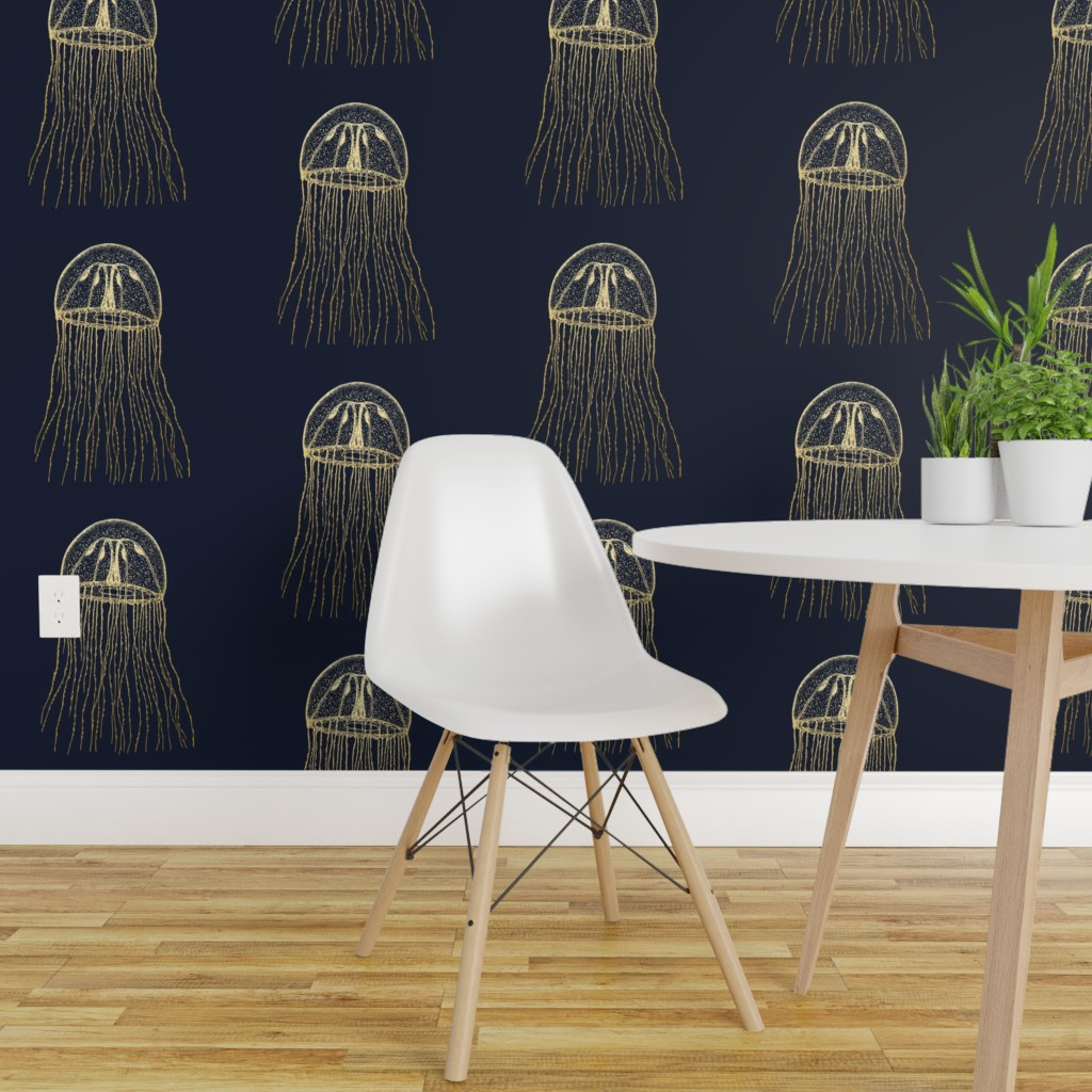 Details About L And Stick Removable Wallpaper Jellyfish Nautical Navy Blue Gold Ocean Jelly