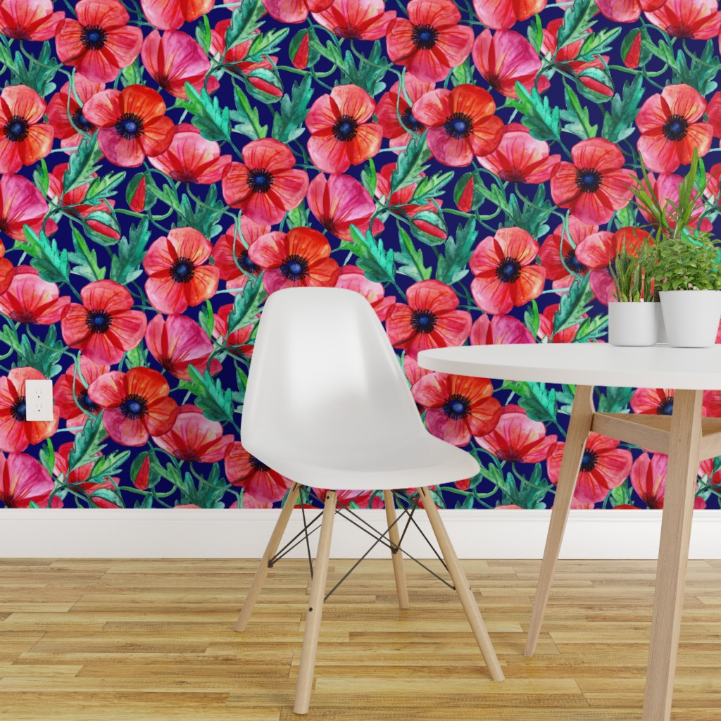 Wallpaper Roll Watercolor Poppies Floral Poppy Botanical Red Navy