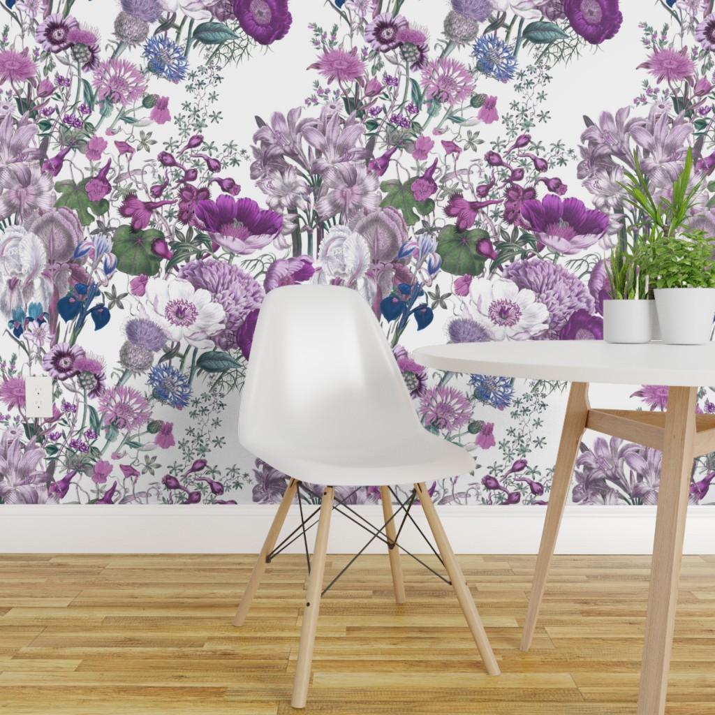 Wallpaper Roll Lilac Wildflowers Purple Lavender Floral Flowers