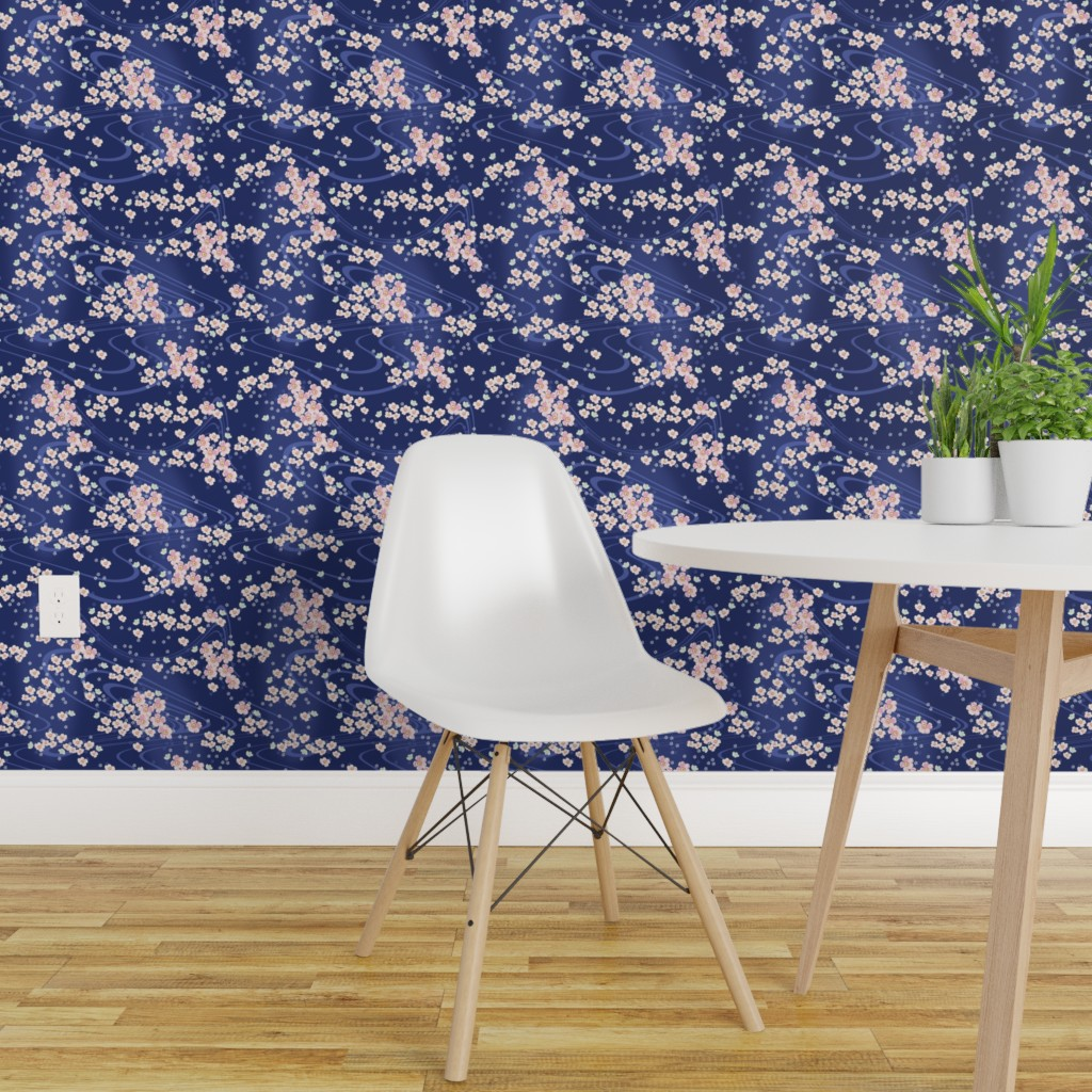 Wallpaper Roll Cherry Blossoms Japanese Floral Flowers 24in X 27ft