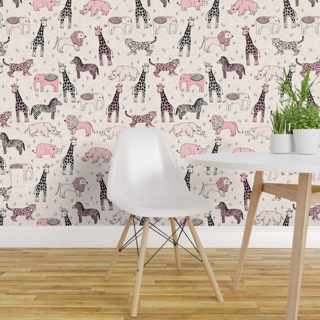 Details About Peel And Stick Removable Wallpaper Jungle Animals Pink Safari Nursery Baby Girl