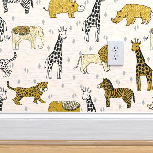 Wallpaper Jungle Safari Kids Animals Baby Kids Safari Mustard Kids