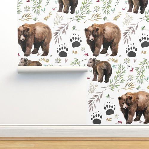 Wallpaper Watercolor Mama Bear Cub In The Woods