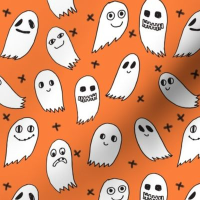 Fabric by the Yard ghosts // orange ghosts halloween ghost spirit casper  october kids cute halloween fabric